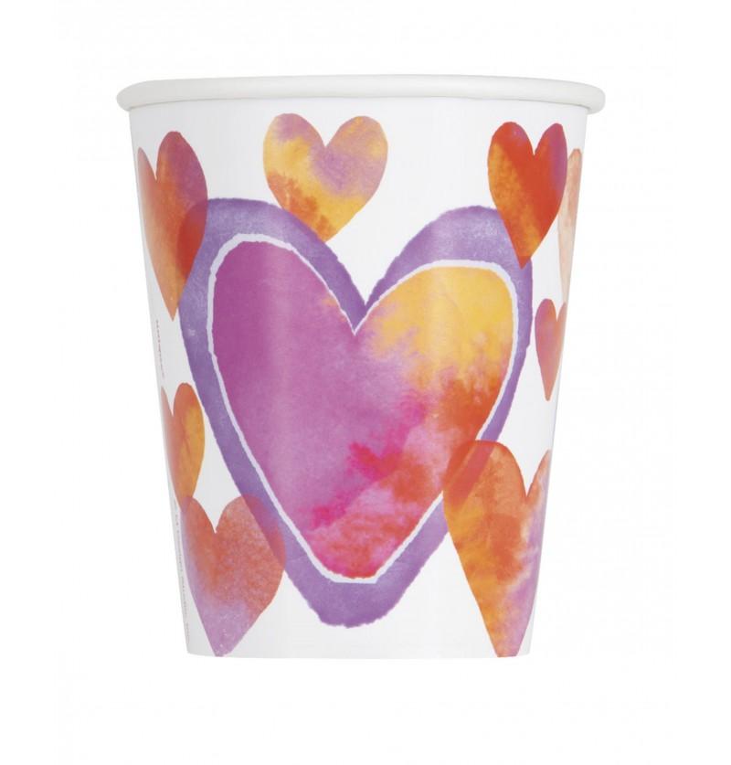 Set de 8 vasos con corazones de acuarela - Watercolour Hearts
