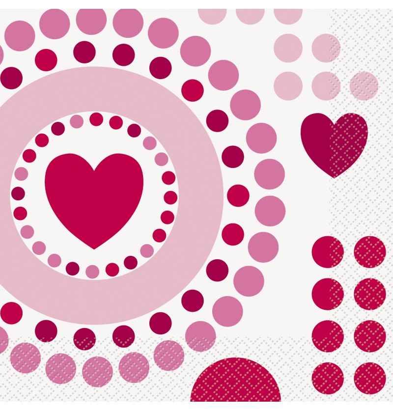 Set de 16 servilletas con corazones y lunares - Radiant Hearts