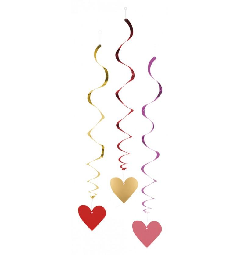 Set de 3 adornos colgantes de corazones – Love You