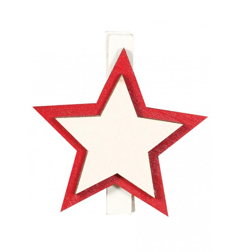 Set de 9 pinzas de estrella navideña