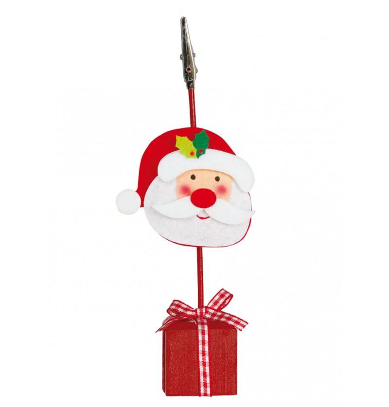 Pinza para tarjeta de navidad con Papá Noel