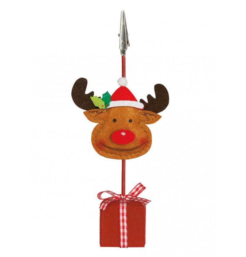 Pinza para tarjeta de navidad con reno