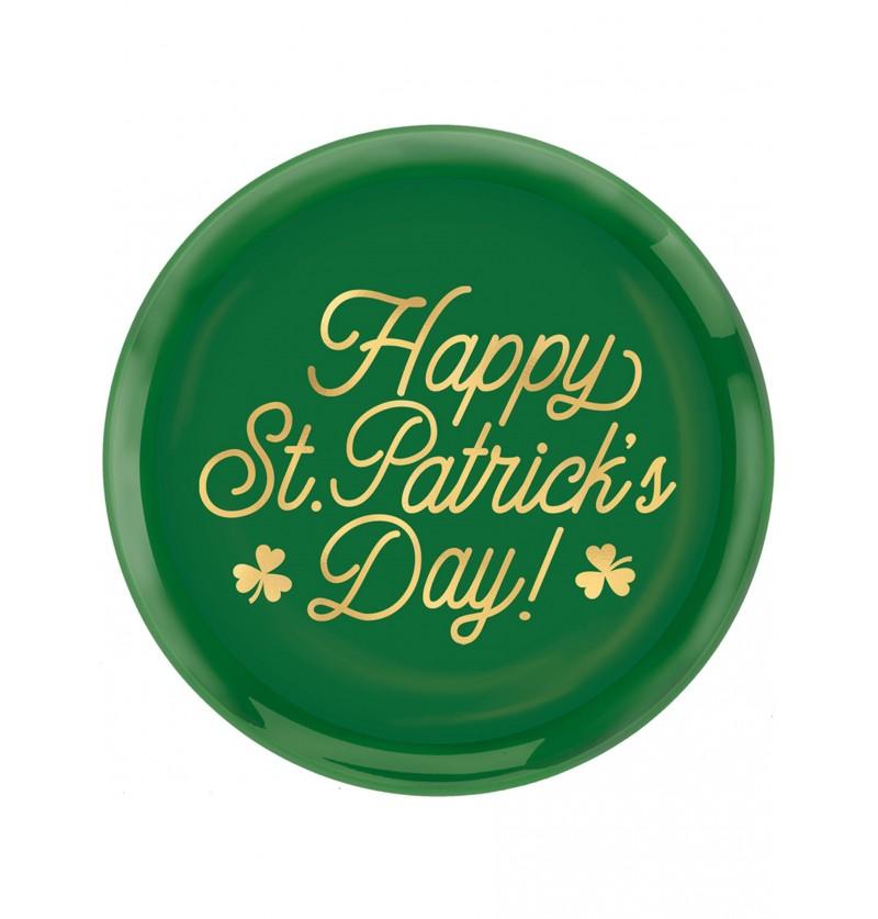 Plato de plástico reutilizable Happy St Patrick's Day