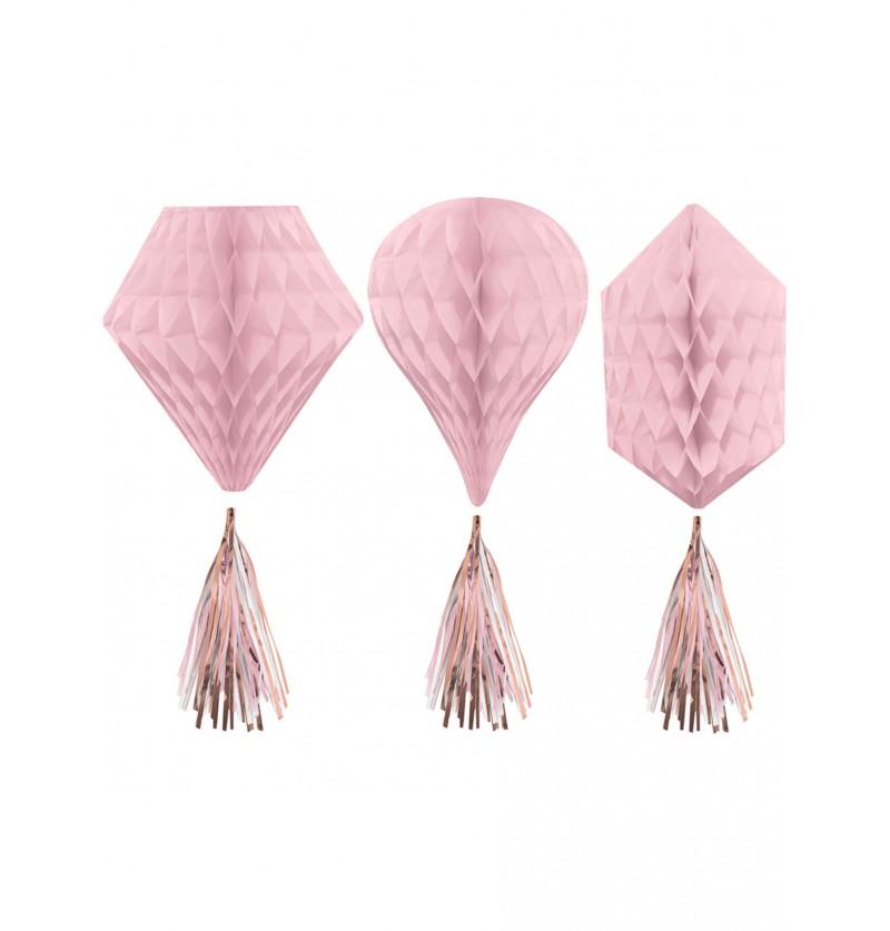 Decoración colgante de panel de abeja y pompones formas variadas en rosa