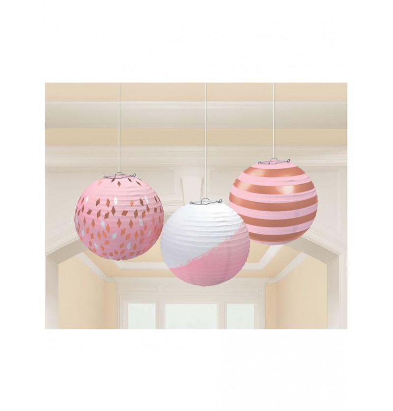 Set de 3 esferas con estampados variados en oro rosa