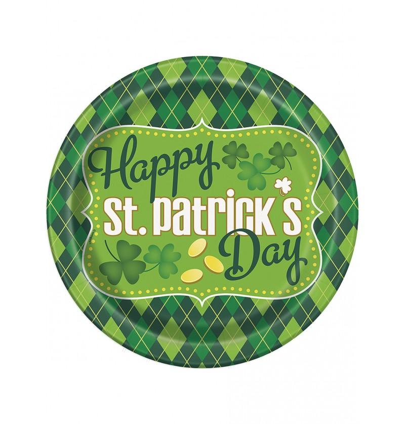 Set de 8 platos de cuadros verdes Happy St Patrick's Day