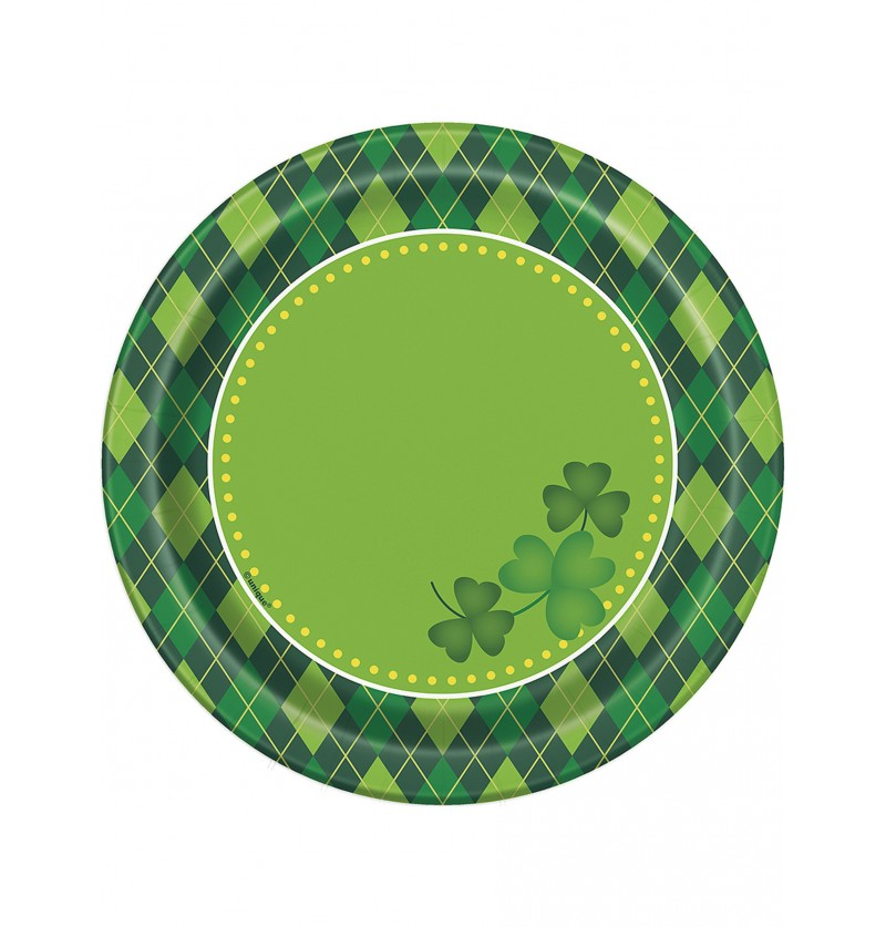 Set de 8 platos de postre de cuadros verdes Happy St Patrick's Day
