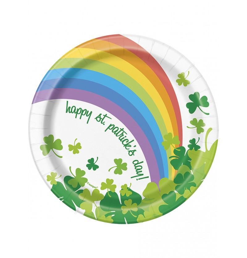 Set de 8 platos de postre Happy St Patrick's Day con arcoíris