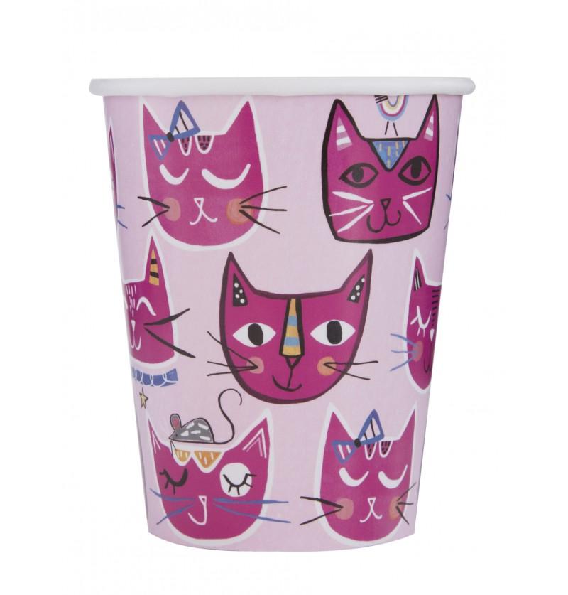 Set de 8 vasos - Gatos rosas