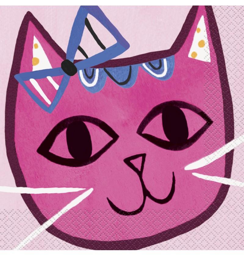 Set de 16 servilletas - Gatos rosas