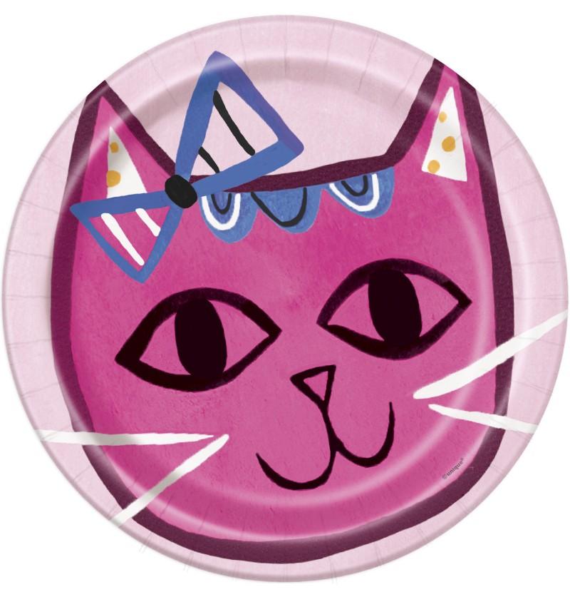 Set de 8 platos - Gatos rosas