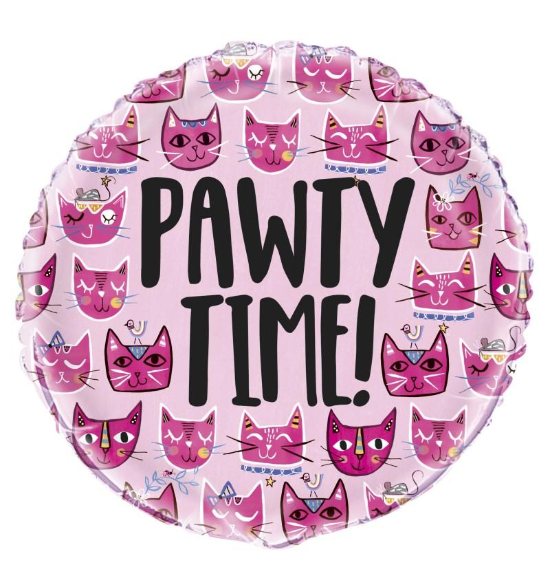 Globo de foil let's pawt - Gatos rosas