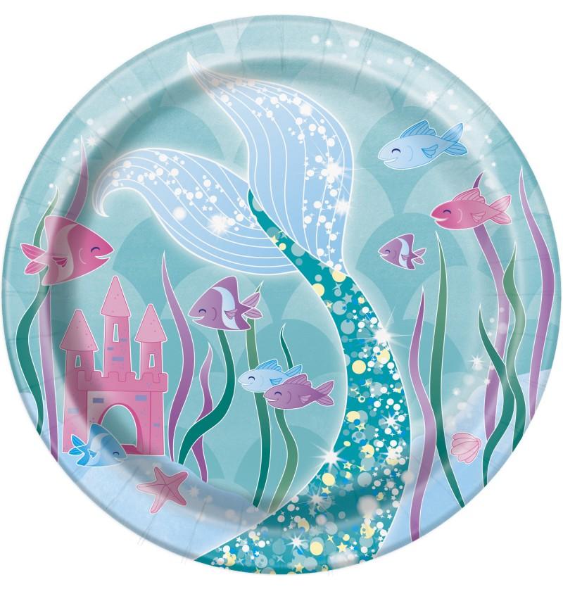 Set de 8 platos de postre de sirenas - Sirena bajo del mar