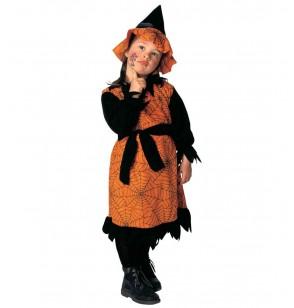 Disfraz de bruja naranja de las arañas para niña