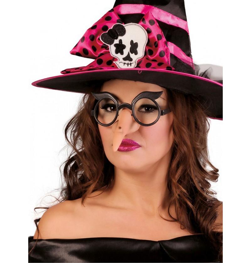 Nariz de bruja piruja con gafas para adulto