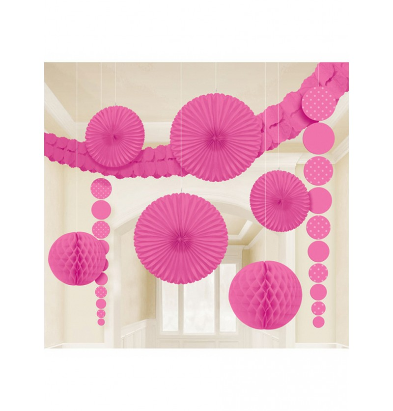 Set de 9 decoraciones de papel en color rosa intenso