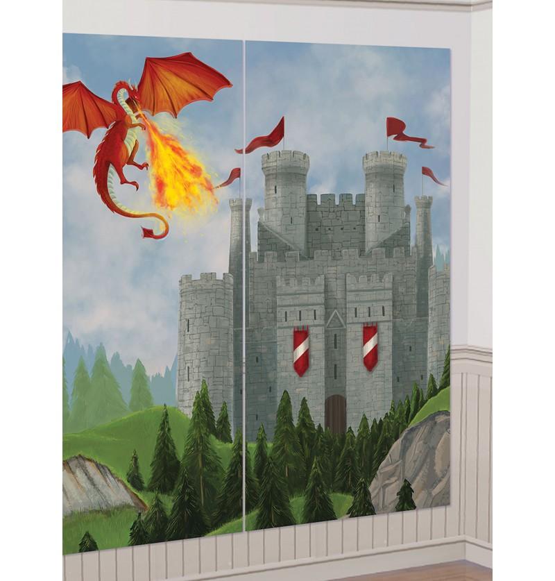 Set de 13 accesorios para photocall con fondo de castillo y dragón medieval