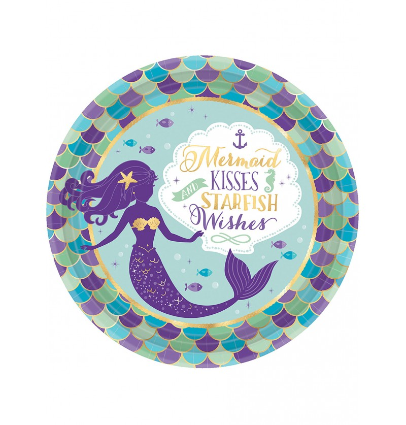 Set de 8 platos con sirena- Mermaid Wishes