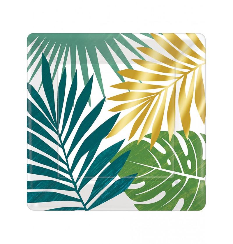 Set de 8 platos de postre con hojas tropicales - Key West