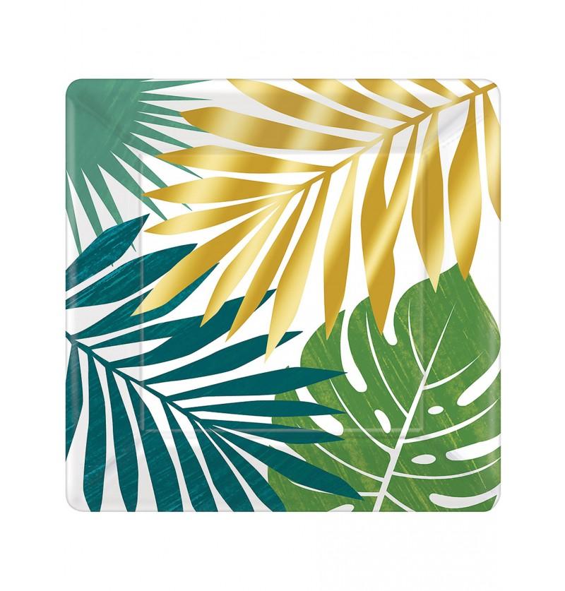Set de 8 platos con hojas tropicales - Key West