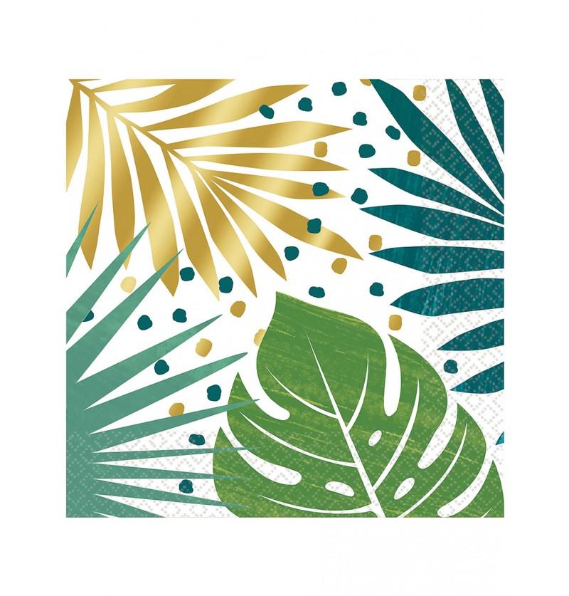 Set de 16 servilletas con estampado de hojas tropicales verde y dorado - Key West