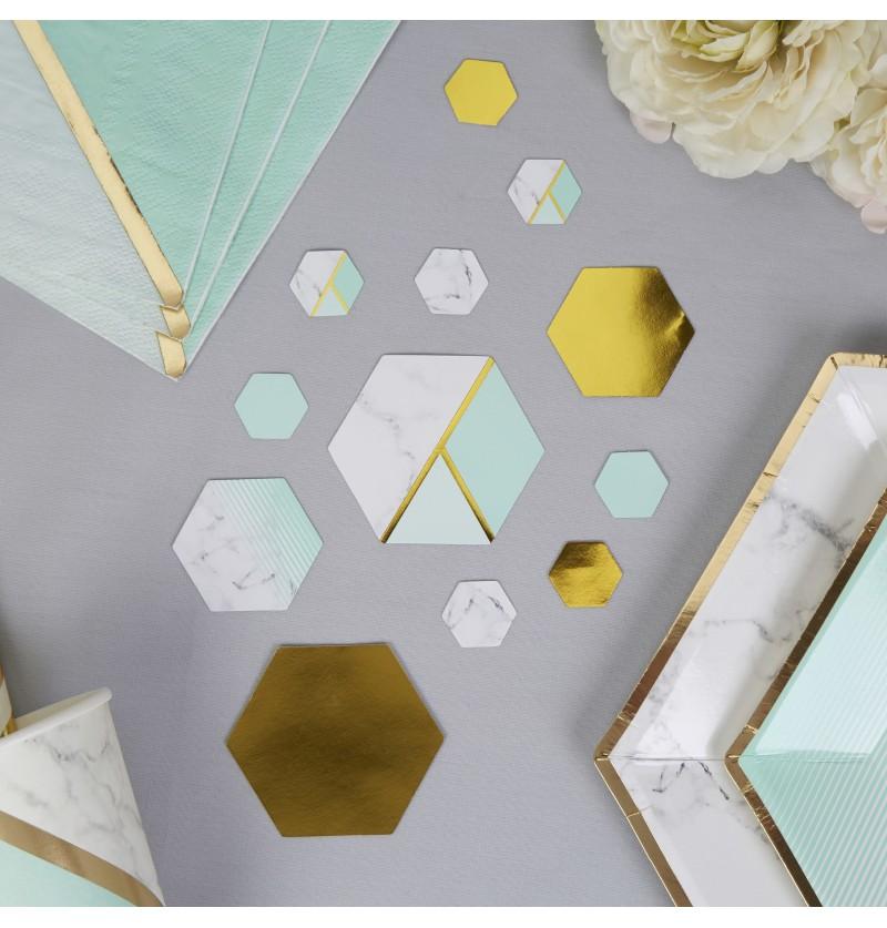Confeti para mesa estampado geométrico verde menta - Colour Block Marble