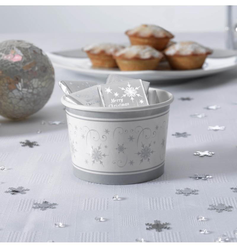Set de 8 tarrinas copo de nieve de papel - Snowflake