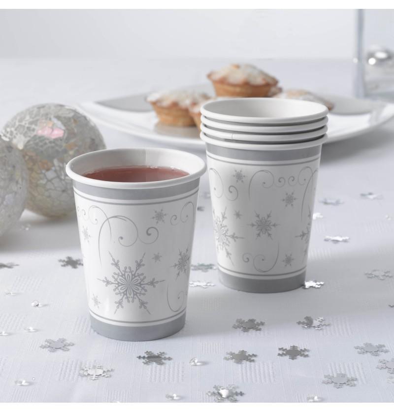 Set de 8 vasos copo de nieve de papel - Snowflake