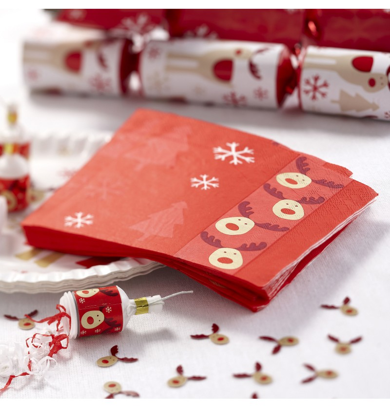 Set de 16 servilletas de papel - Rocking Rudolf