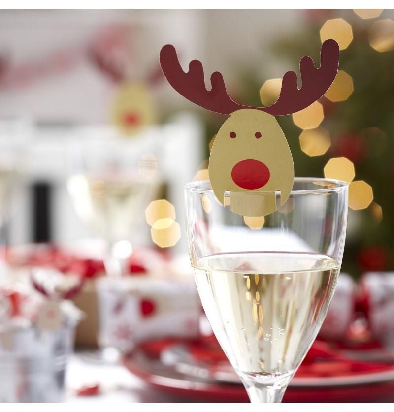 Set de 10 adornos para vasos de reno - Rocking Rudolf