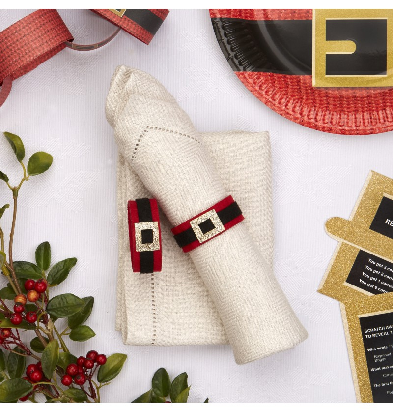 Set de 4 servilleteros navideñas de fieltro - Dear Santa