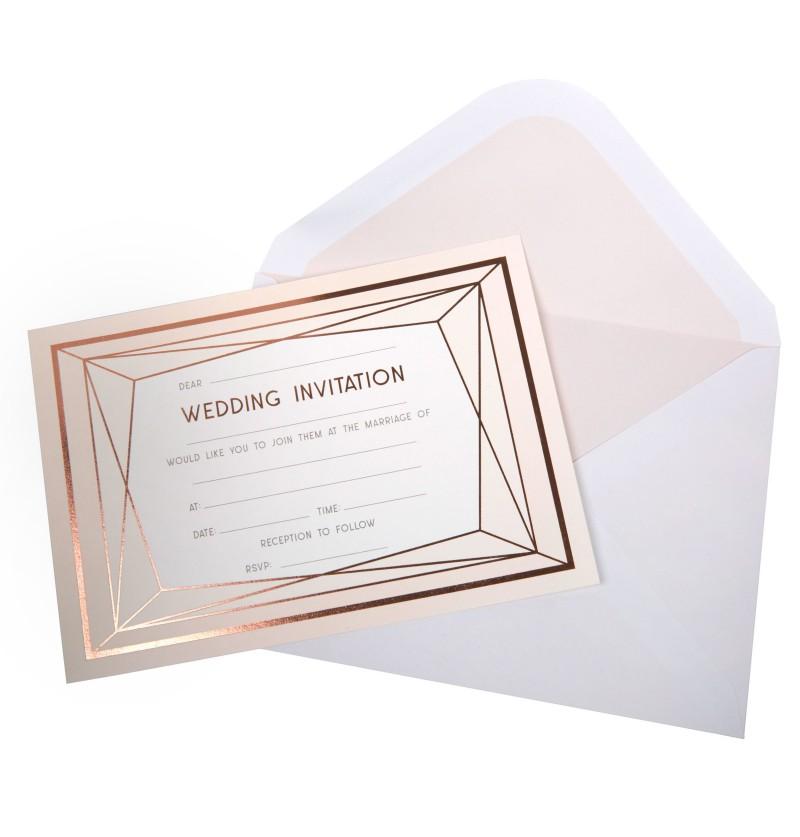 Set de 10 invitaciones para boda en oro rosa de papel - Geo Blush
