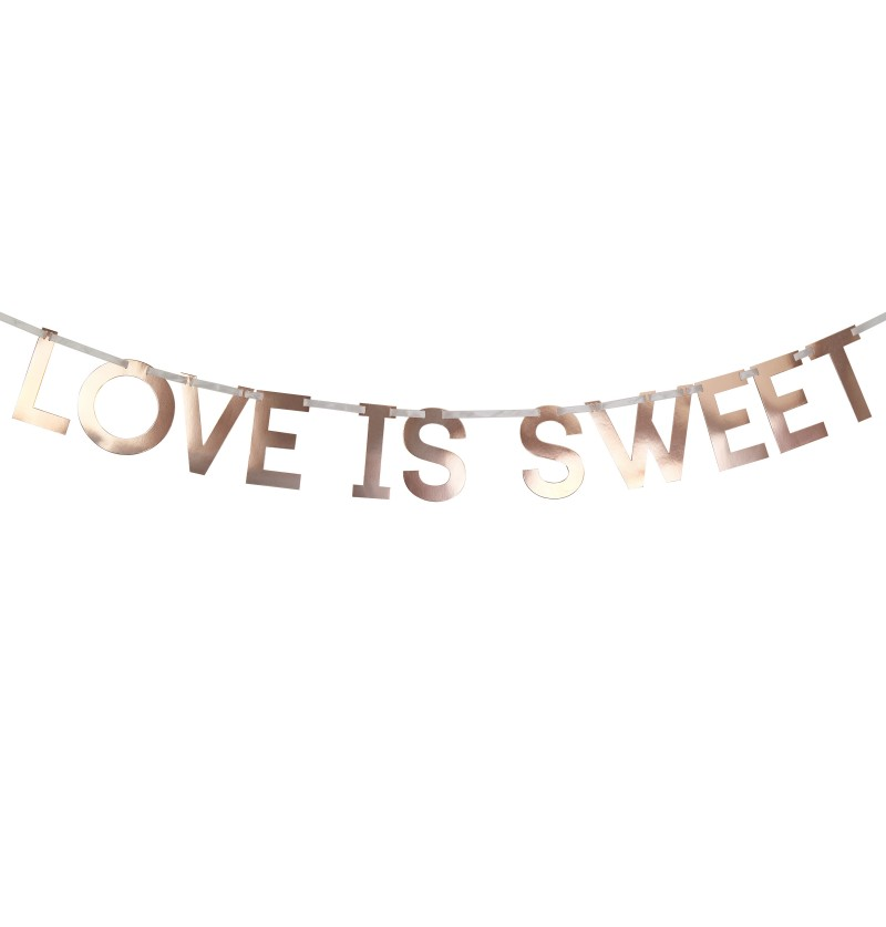 "Guirnalda ""Love is sweet"" en oro rosa de papel - Geo Blush"