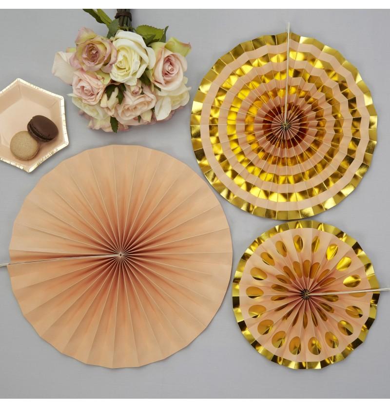 Set de 3 abanicos decorativos variados de papel - Colour Block Marble