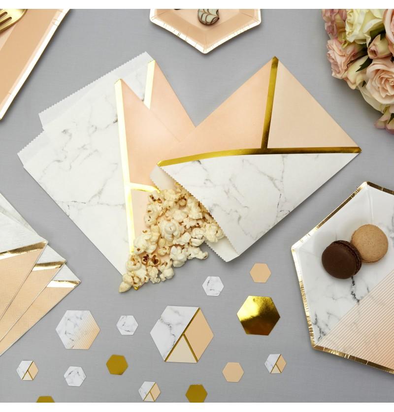 Set de 25 bolsitas para chucherías estampado geométrico melocotón - Colour Block Marble