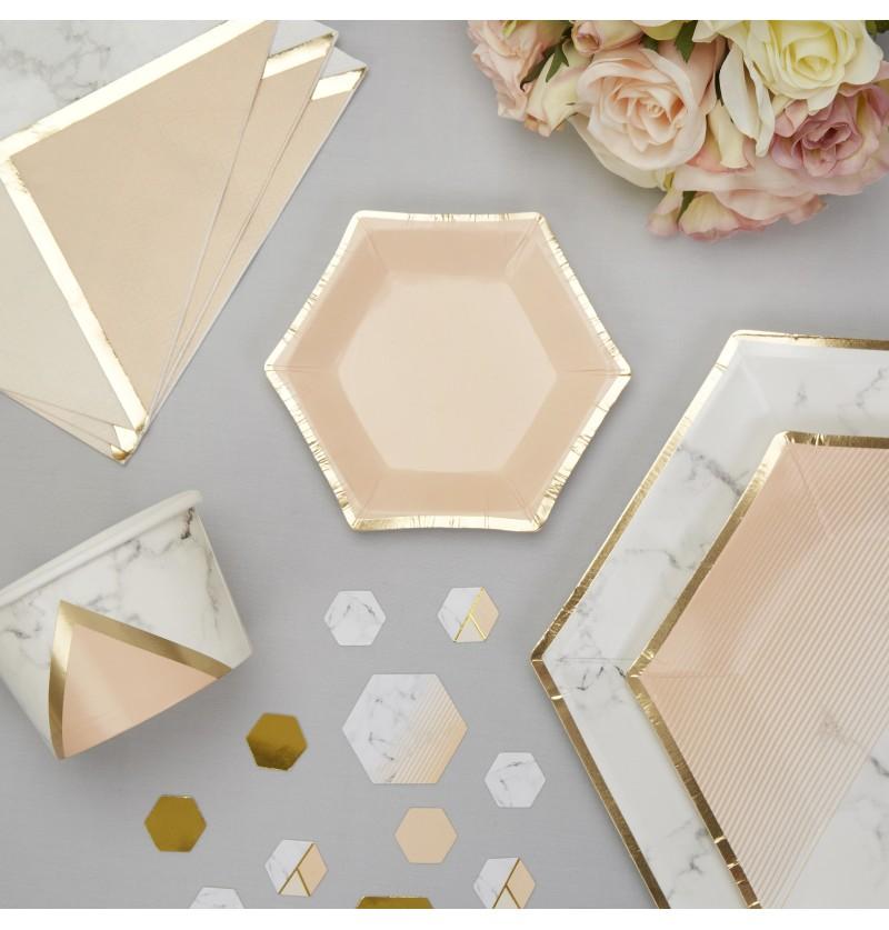 Set de 8 platos pequeños hexagonales melocotón - Colour Block Marble