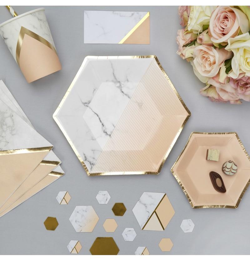Set de 8 platos hexagonales medianos con estampado geométrico melocotón - Colour Block Marble
