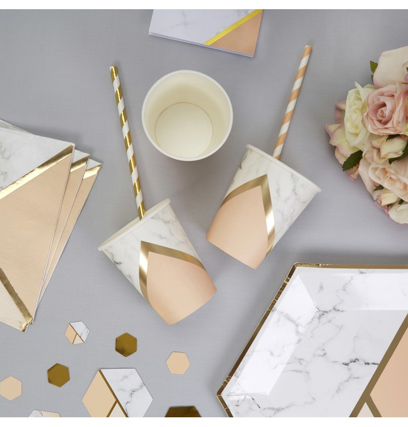 Set de 8 vasos estampado geométrico melocotón de papel - Colour Block Marble