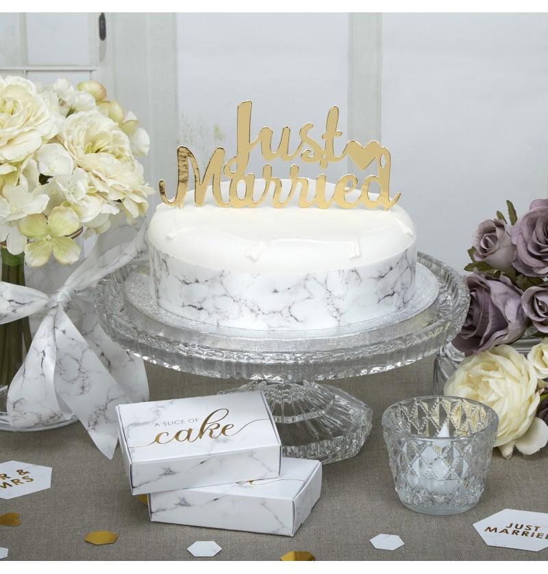 """Decoración para tarta """"Just Married"""" dorado - Scripted Marble"""