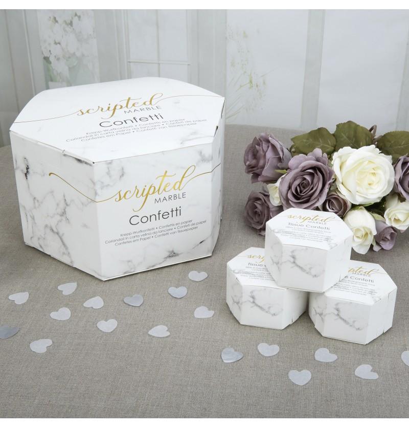 Set de 21 cajitas de confeti con forma de corazón - Scripted Marble