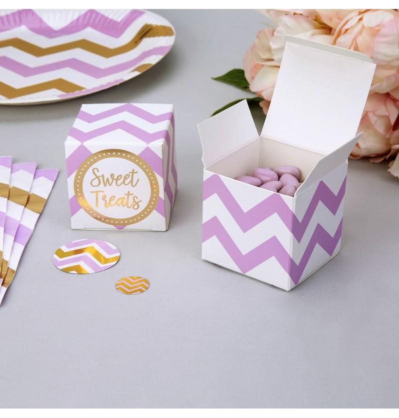 Set de 10 cajitas zigzag morado y blanco de papel - Pattern Works
