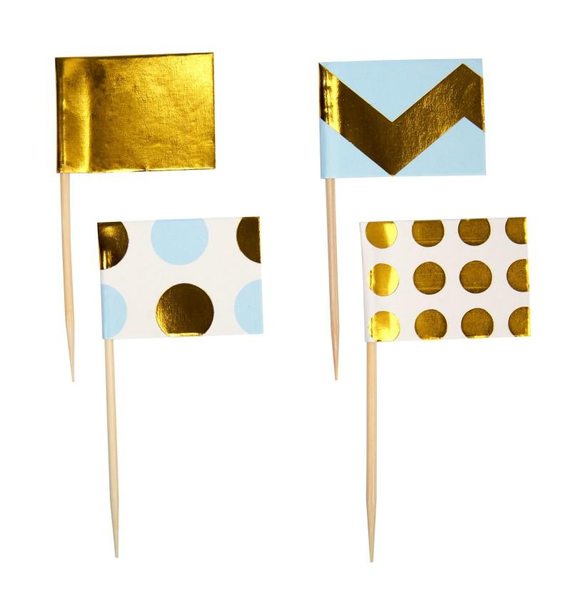Set de 20 palillos decorativos azules y dorados de papel - Pattern Works
