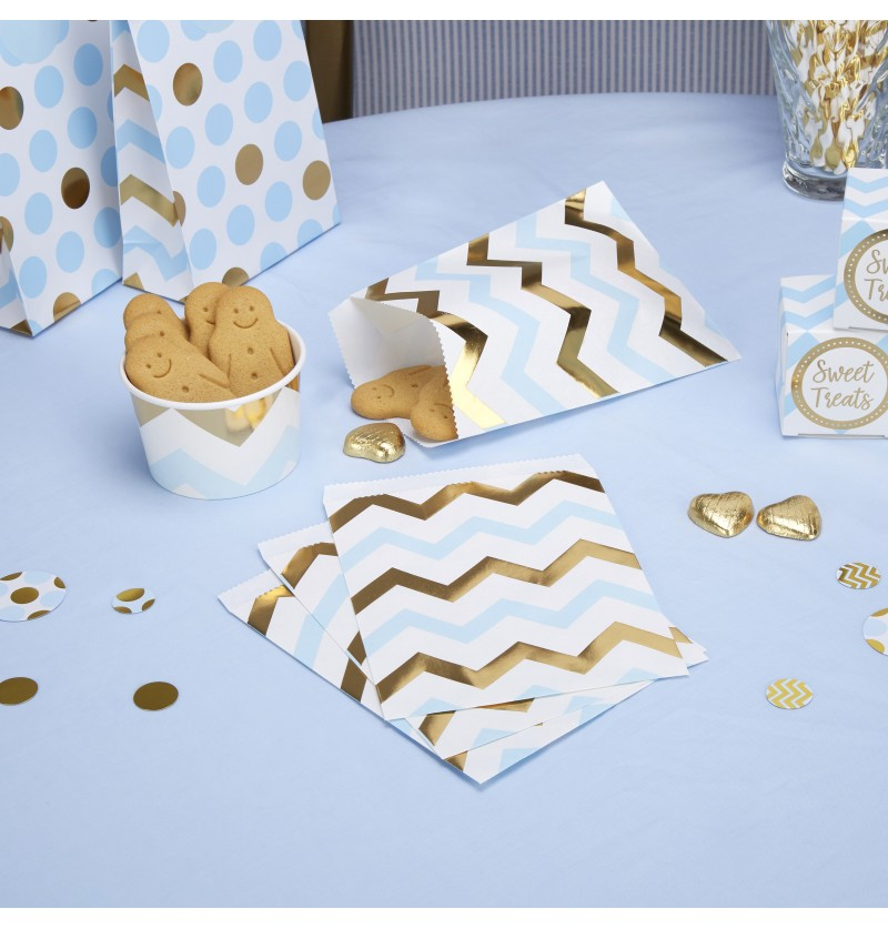 Set de 25 bolsitas de papel zigzag azul y dorado de papel - Pattern Works