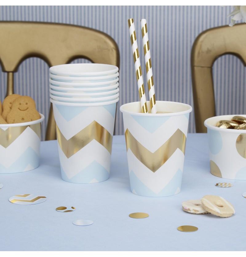 Set de 8 vasos zig zag azul y dorado de papel - Pattern Works