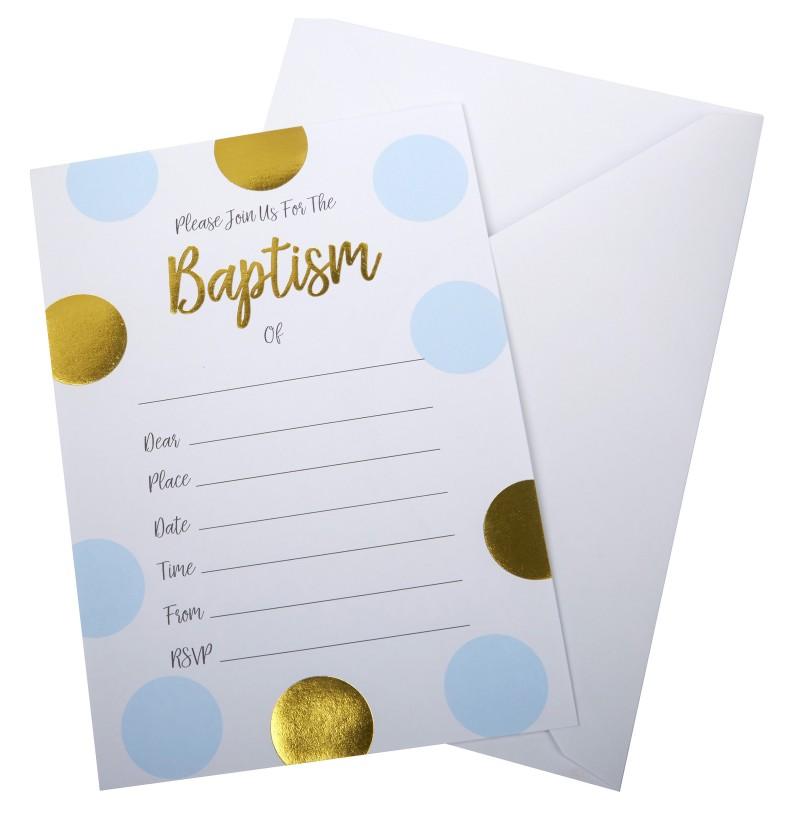 """Set de 10 invitaciones de lunares azules y dorados """"Baptism"""" - Pattern Works"""