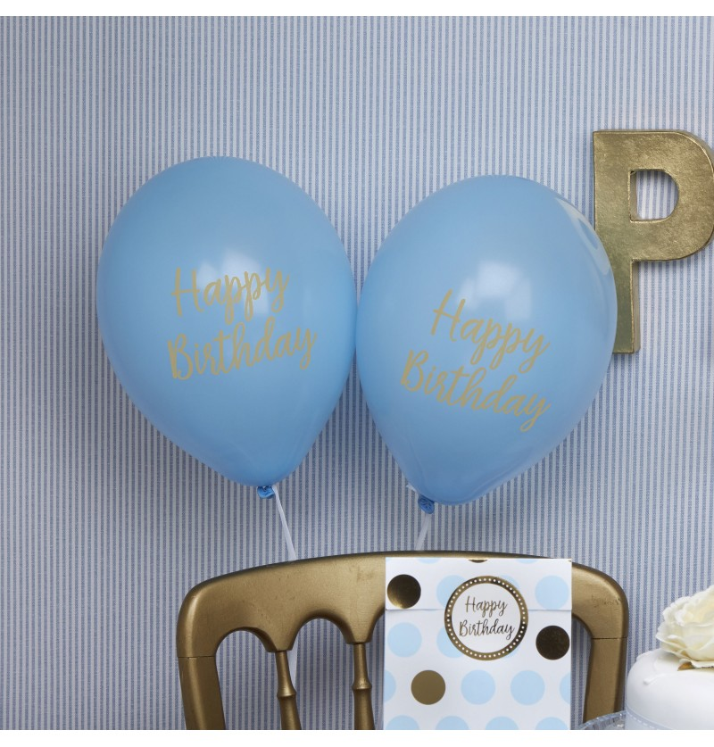 "Set de 8 globos de látex azules ""Happy Birthday"" - Pattern Works"
