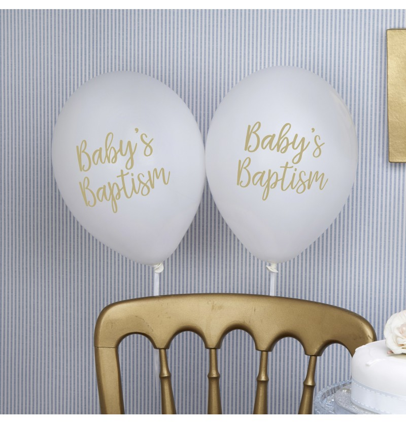 "Set de 8 globos de látex ""Baby's Baptism"" - Pattern Works"