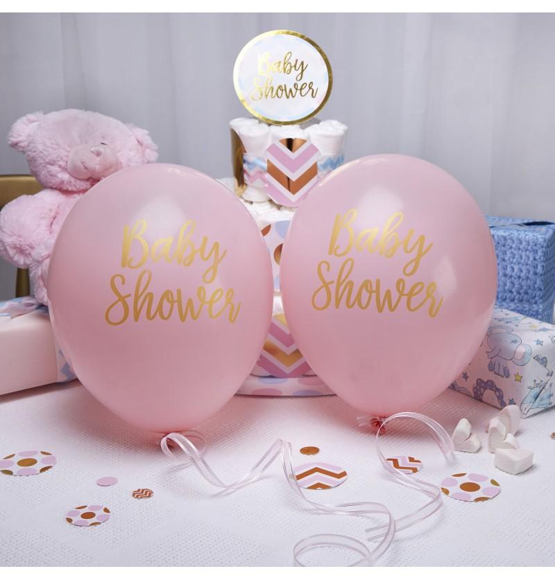 "Set de 8 globos de látex rosas ""Baby Shower"" - Pattern Works"