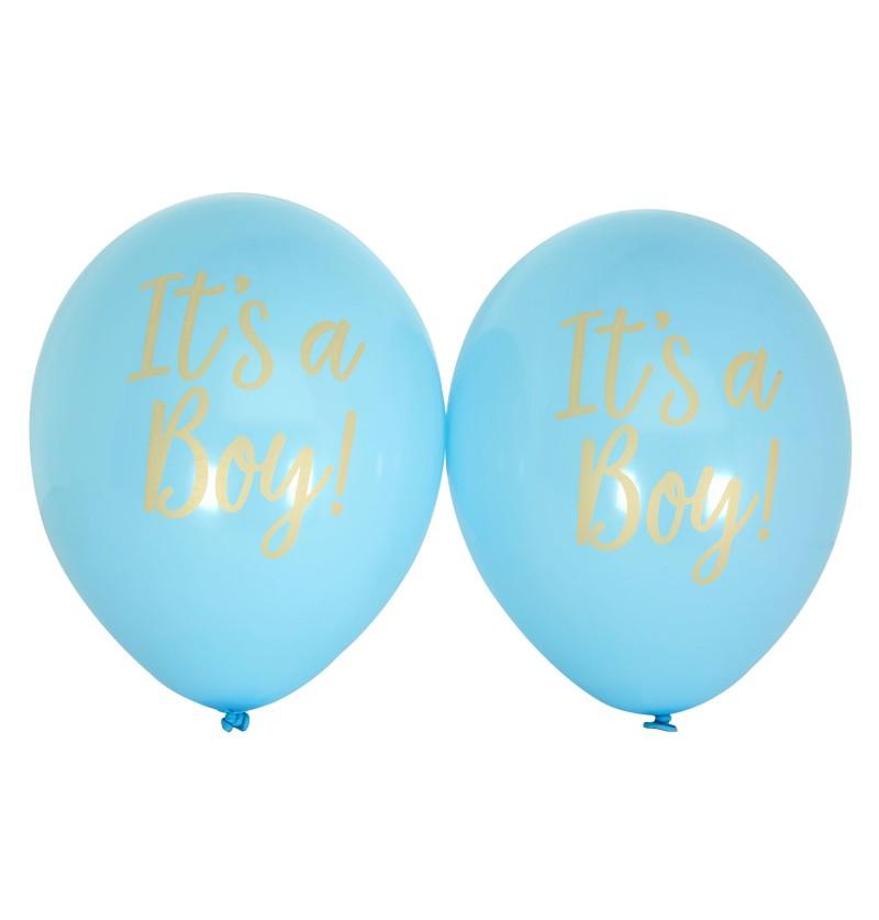 "Set de 8 globos de látex azules ""It's a boy"" - Pattern Works"