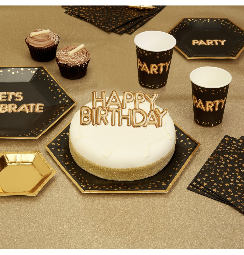 "Decoración para tarta ""Happy Birthday"" en dorado - Glitz & Glamour Black & Gold"
